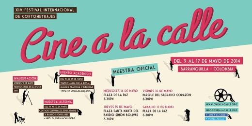 Afiche con la programación de Cine a la Calle 2014 | Fuente: cinealacalle.org