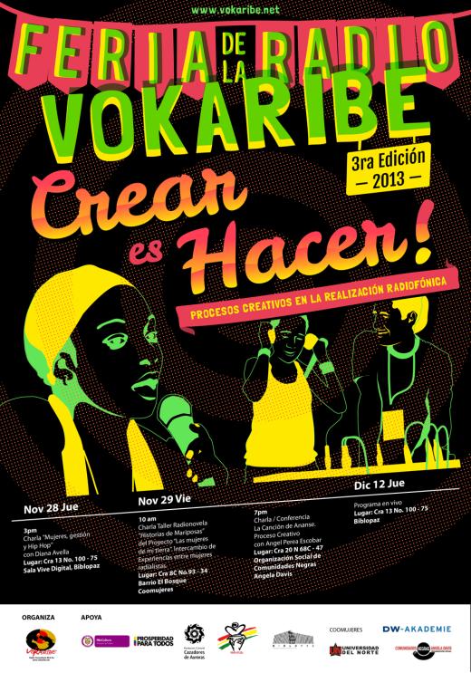 Cartel 3ra Feria de La Radio Vokaribe 2013 | Crear es Hacer!! | Diseño: Guillermo Solano